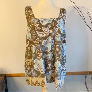 J. Jill brown and blue floral sleeveless blouse